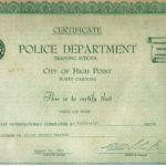 Police Department Training School Certificate
