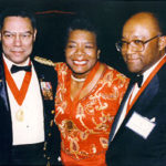 Maya Angelou and Colin Powell with Bob at Horatio Alger